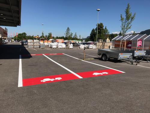 Parkplatzmarkierung Hornbach II, Klagenfurt